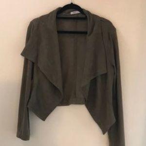Reposh - JustFab Faux Suede Drape Front Jacket